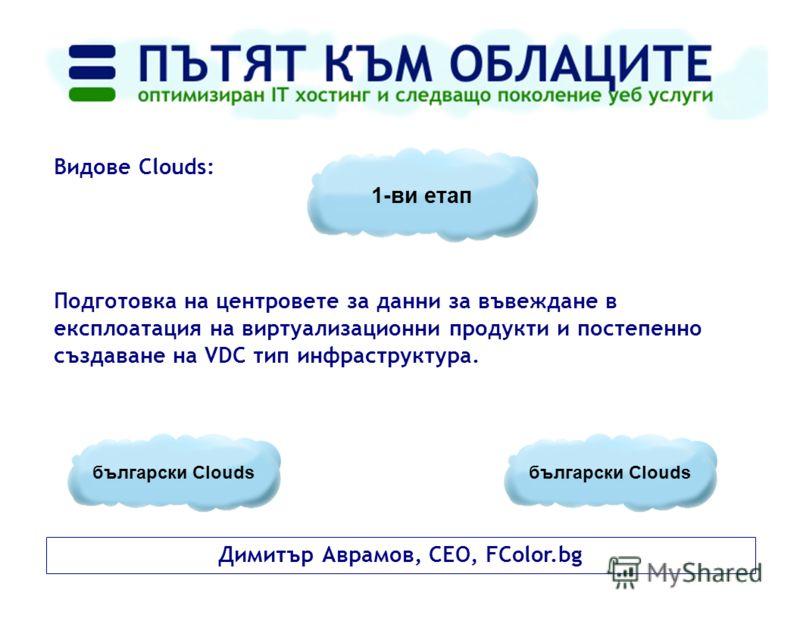 Димитър Аврамов, CEO, FColor.bg Видове Clouds: Подготовка на центровете за данни за въвеждане в експлоатация на виртуализационни продукти и постепенно създаване на VDC тип инфраструктура. 1-ви етап български Clouds