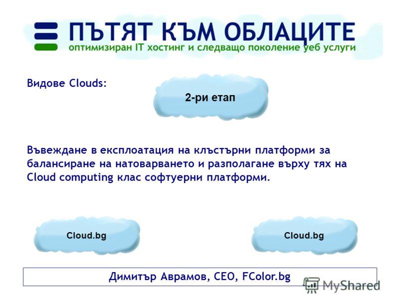 Димитър Аврамов, CEO, FColor.bg Видове Clouds: Въвеждане в експлоатация на клъстърни платформи за балансиране на натоварването и разполагане върху тях на Cloud computing клас софтуерни платформи. 2-ри етап Cloud.bg