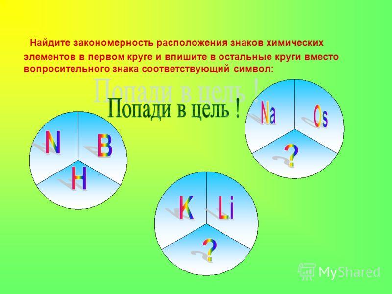 Найдите закономерность расположения знаков химических элементов в первом круге и впишите в остальные круги вместо вопросительного знака соответствующий символ: