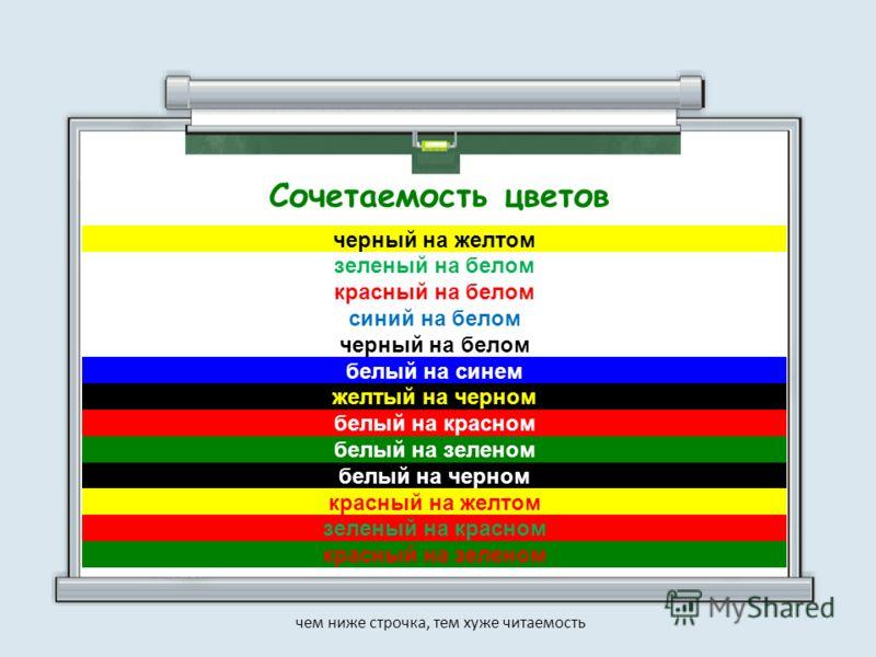 черный на желтом зеленый на белом красный на белом синий на белом черный на белом белый на синем желтый на черном белый на красном белый на зеленом белый на черном красный на желтом зеленый на красном красный на зеленом чем ниже строчка, тем хуже чит