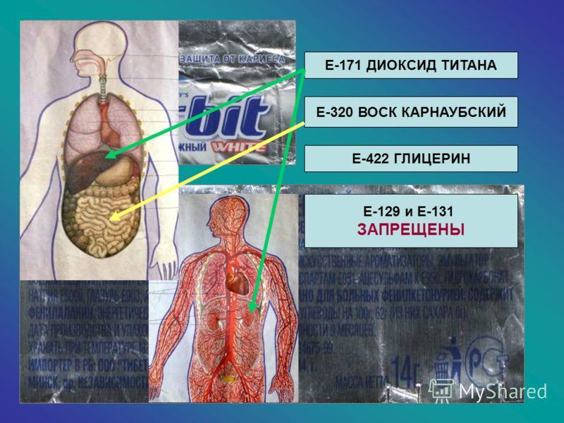 Е-171 ДИОКСИД ТИТАНА Е-320 ВОСК КАРНАУБСКИЙ Е-422 ГЛИЦЕРИН Е-129 и Е-131 ЗАПРЕЩЕНЫ