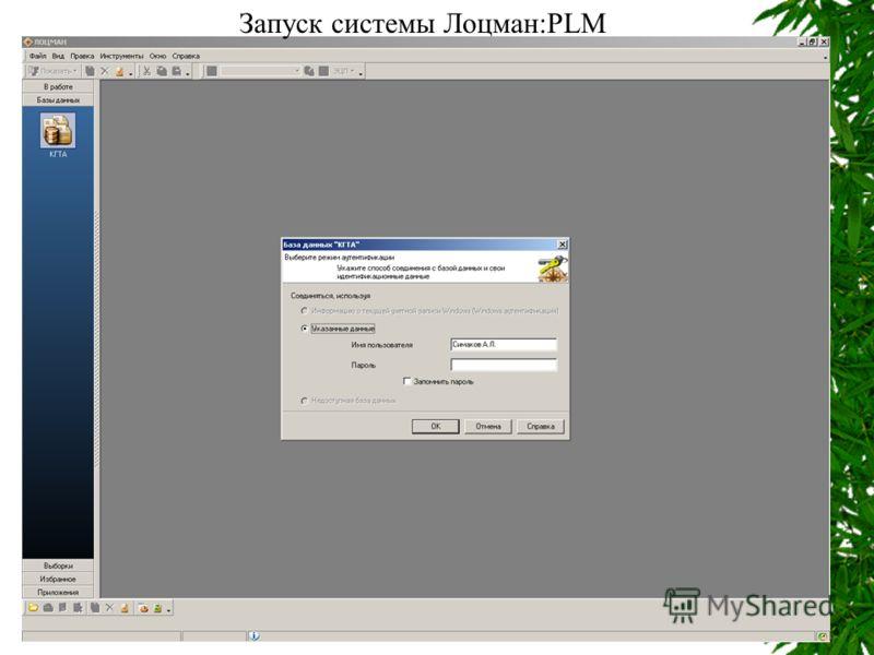Запуск системы Лоцман:PLM