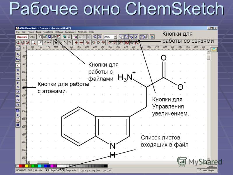 Рабочее окно ChemSketch Кнопки для работы с атомами. Кнопки для работы со связями Кнопки для работы с файлами Кнопки для Управления увеличением. Список листов входящих в файл