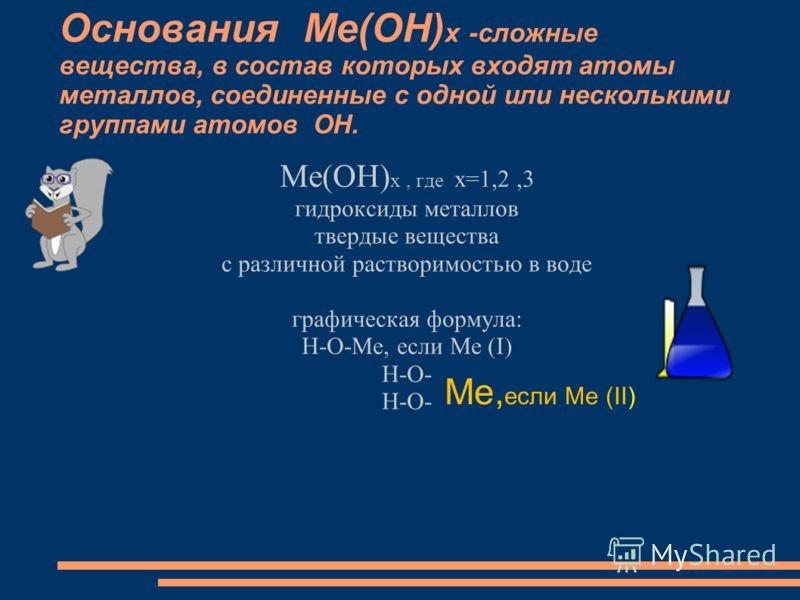 Основания Ме(ОН) х -сложные вещества, в состав которых входят атомы металлов, соединенные с одной или несколькими группами атомов ОН. Ме(ОН) х, где х=1,2,3 гидроксиды металлов твердые вещества с различной растворимостью в воде графическая формула: H-