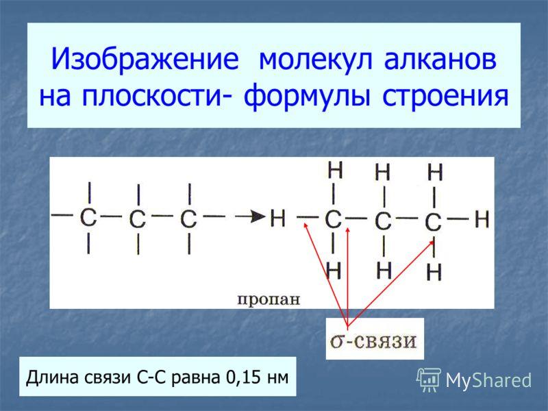 Изображение молекул алканов на плоскости- формулы строения Длина связи С-С равна 0,15 нм