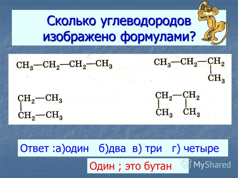 Сколько углеводородов изображено формулами? Ответ :а)один б)два в) три г) четыре Один ; это бутан