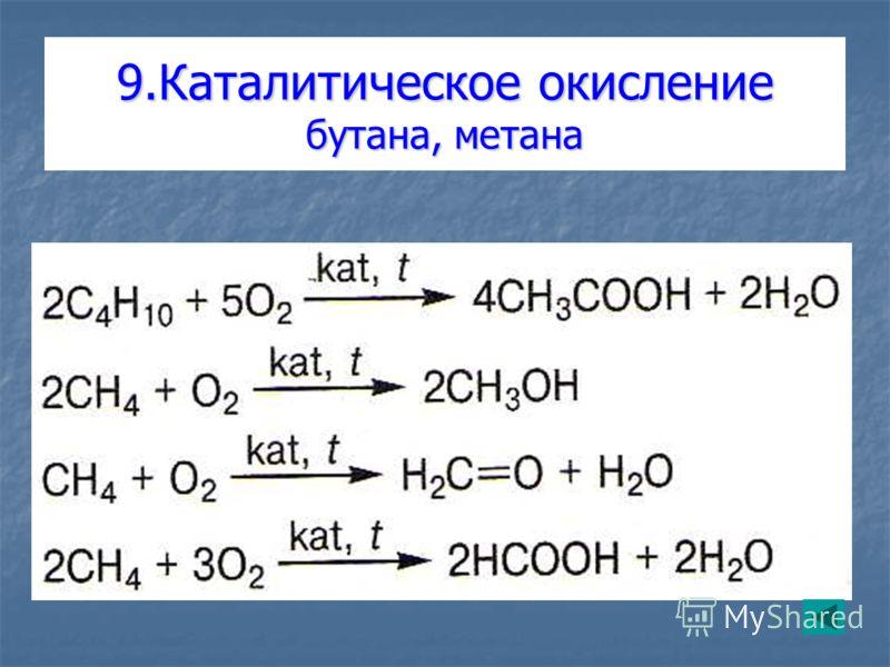 9.Каталитическое окисление бутана, метана