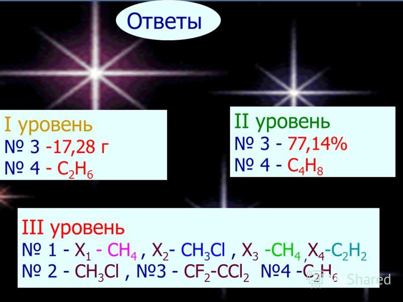 Ответы I уровень 3 -17,28 г 4 - C 2 H 6 II уровень 3 - 77,14% 4 - C 4 H 8 III уровень 1 - X 1 - CH 4, X 2 - CH 3 Cl, X 3 -CH 4, X 4 -C 2 H 2 2 - CH 3 Cl, 3 - CF 2 -CCl 2 4 -C 2 H 6