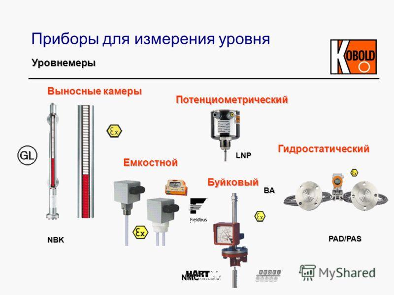 Приборы для измерения уровня Выносные камеры Потенциометрический Буйковый Емкостной NBK BA LNP NMC PAD/PAS Гидростатический Уровнемеры