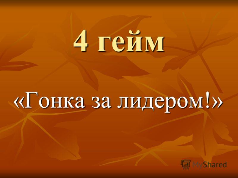 4 гейм «Гонка за лидером!»