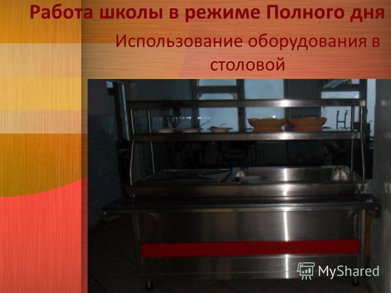 Работа школы в режиме Полного дня Использование оборудования в столовой