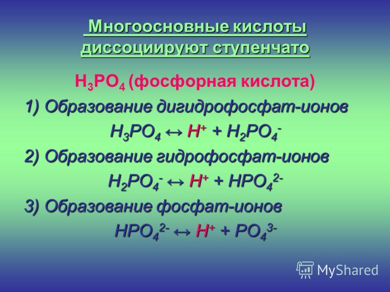Многоосновные кислоты диссоциируют ступенчато H 3 PO 4 (фосфорная кислота) 1) Образование дигидрофосфат-ионов H 3 PO 4 H + + H 2 PO 4 - 2) Образование гидрофосфат-ионов H 2 PO 4 - H + + HPO 4 2- 3) Образование фосфат-ионов HPO 4 2- H + + PO 4 3-