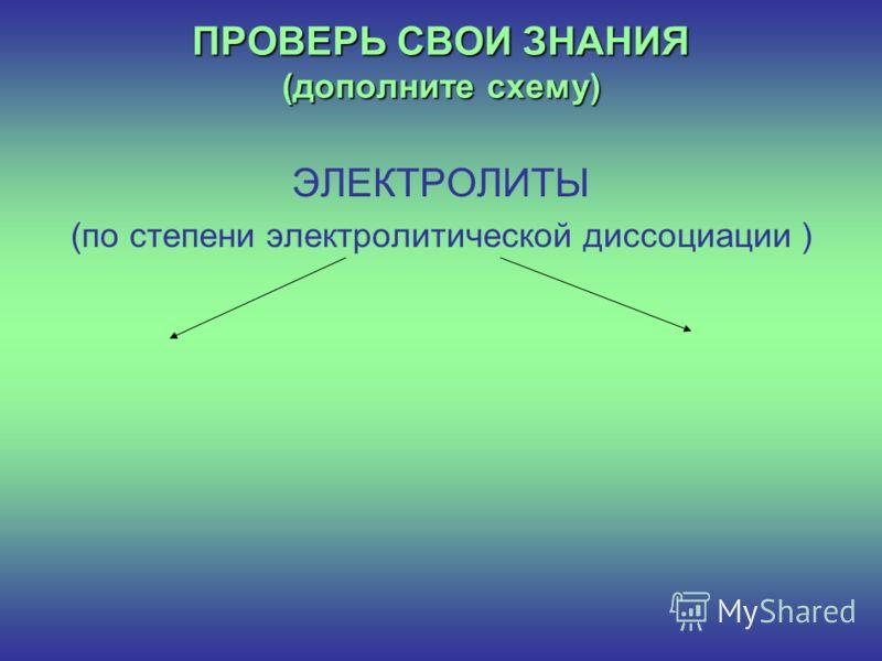 ПРОВЕРЬ СВОИ ЗНАНИЯ (дополните схему) ЭЛЕКТРОЛИТЫ (по степени электролитической диссоциации )