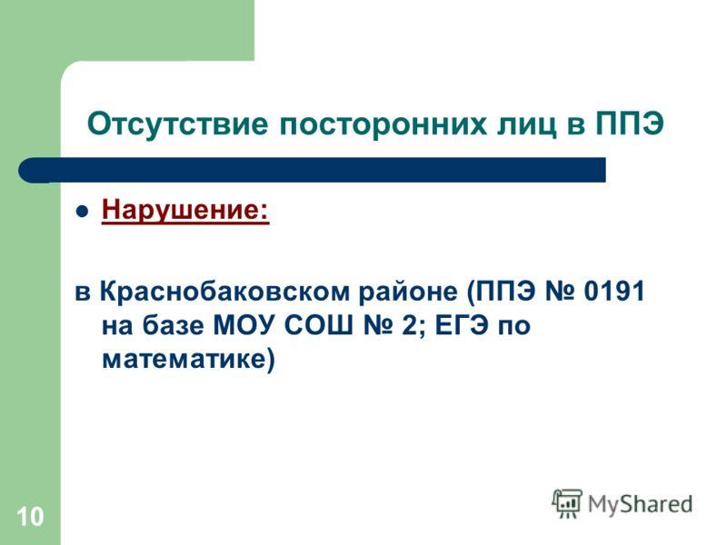 10 Отсутствие посторонних лиц в ППЭ Нарушение: в Краснобаковском районе (ППЭ 0191 на базе МОУ СОШ 2; ЕГЭ по математике)