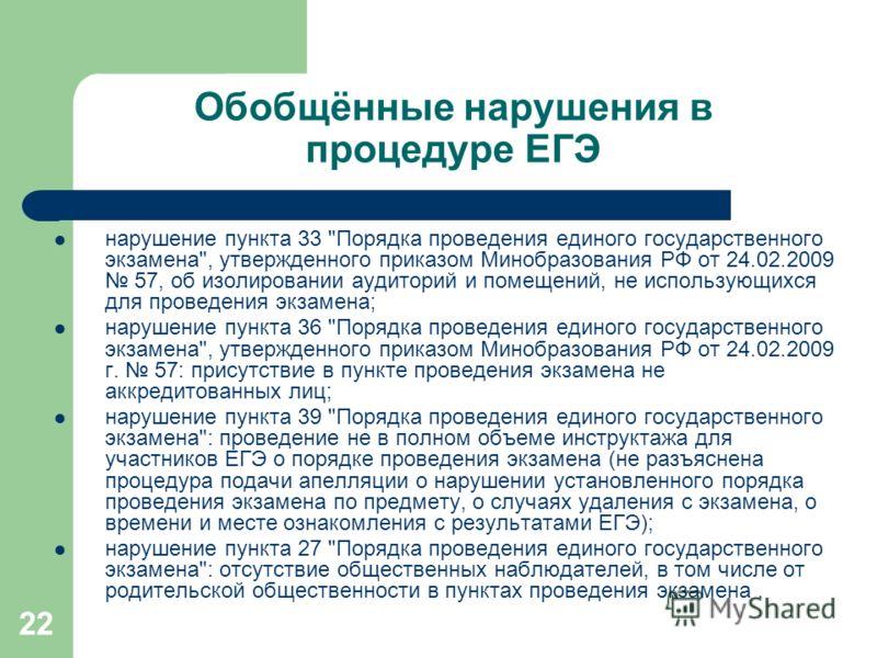 22 Обобщённые нарушения в процедуре ЕГЭ нарушение пункта 33