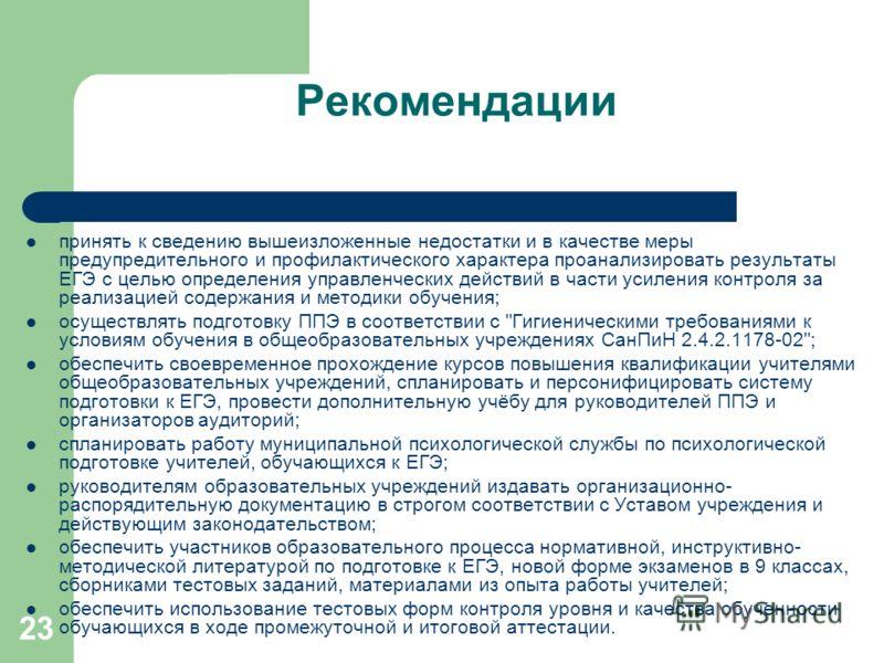 23 Рекомендации принять к сведению вышеизложенные недостатки и в качестве меры предупредительного и профилактического характера проанализировать результаты ЕГЭ с целью определения управленческих действий в части усиления контроля за реализацией содер