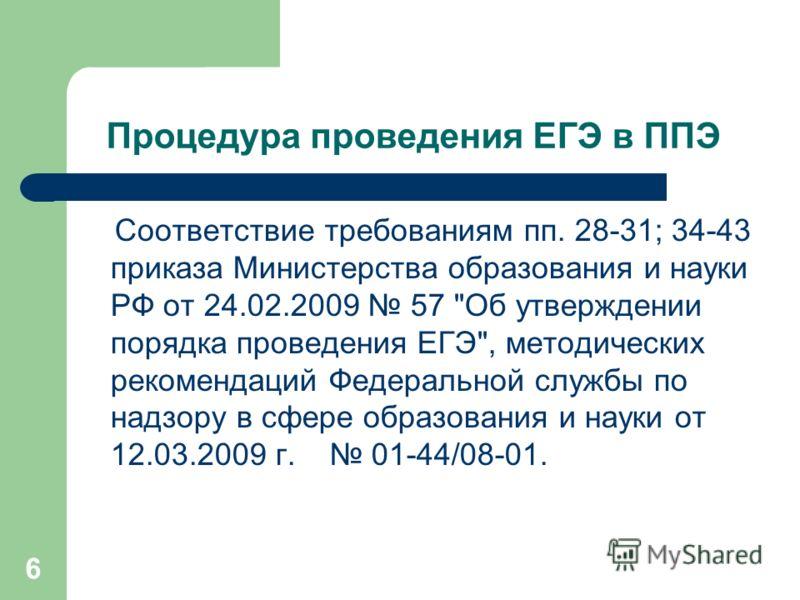 6 Процедура проведения ЕГЭ в ППЭ Соответствие требованиям пп. 28-31; 34-43 приказа Министерства образования и науки РФ от 24.02.2009 57