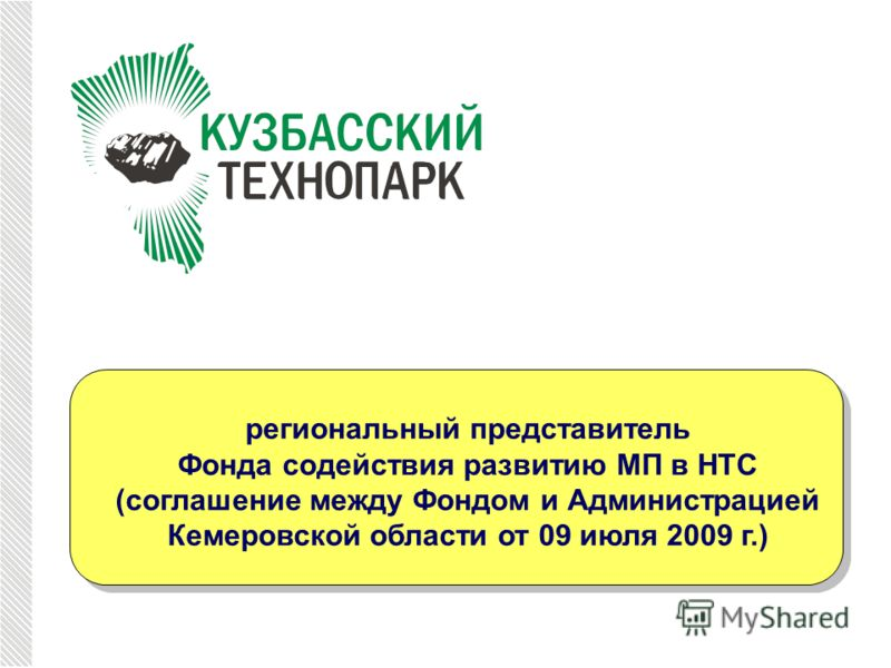 региональный представитель Фонда содействия развитию МП в НТС (соглашение между Фондом и Администрацией Кемеровской области от 09 июля 2009 г.)