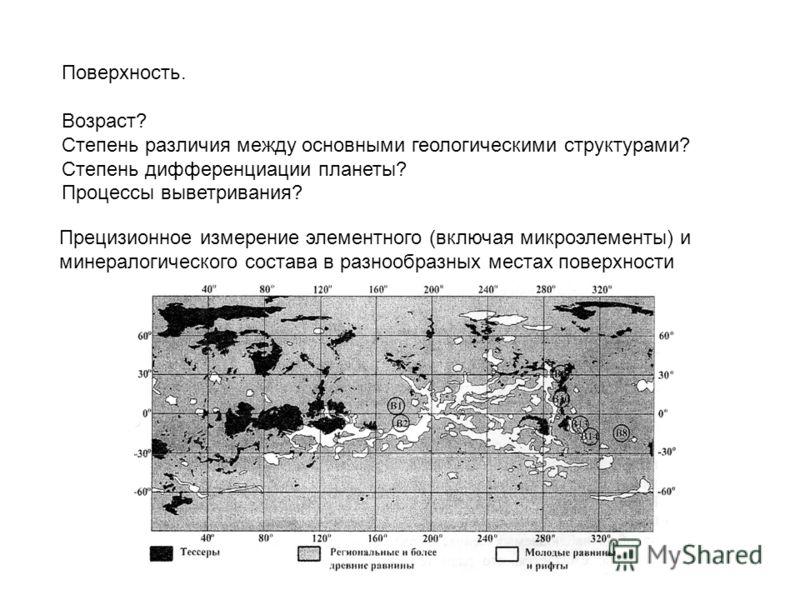 Поверхность. Возраст? Степень различия между основными геологическими структурами? Степень дифференциации планеты? Процессы выветривания? Прецизионное измерение элементного (включая микроэлементы) и минералогического состава в разнообразных местах по