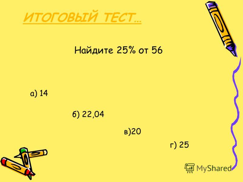 ИТОГОВЫЙ ТЕСТ… Найдите 25% от 56 б) 22,04 а) 14 в)20 г) 25