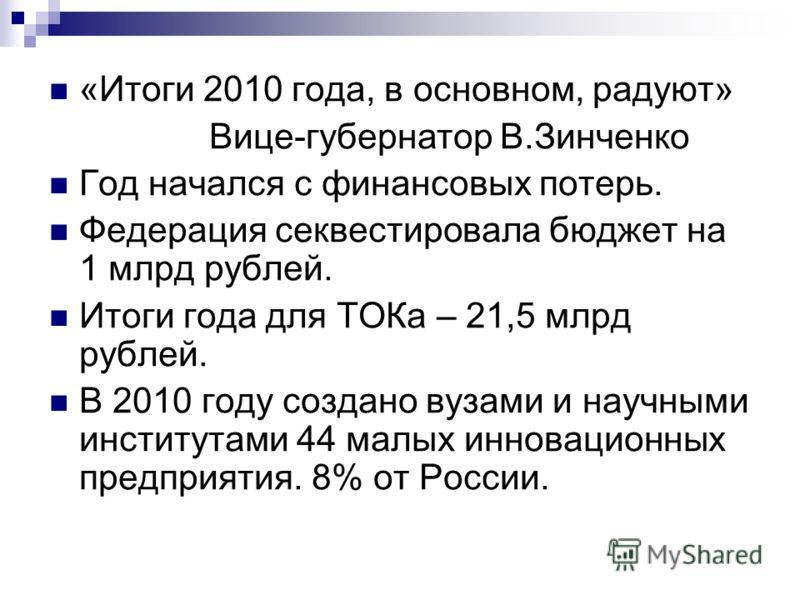 «Итоги 2010 года, в основном, радуют» Вице-губернатор В.Зинченко Год начался с финансовых потерь. Федерация секвестировала бюджет на 1 млрд рублей. Итоги года для ТОКа – 21,5 млрд рублей. В 2010 году создано вузами и научными институтами 44 малых инн