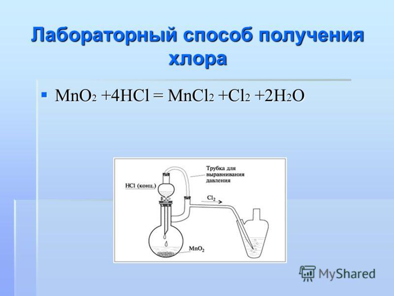 Лабораторный способ получения хлора MnO 2 +4HCl = MnCl 2 +Cl 2 +2H 2 O MnO 2 +4HCl = MnCl 2 +Cl 2 +2H 2 O