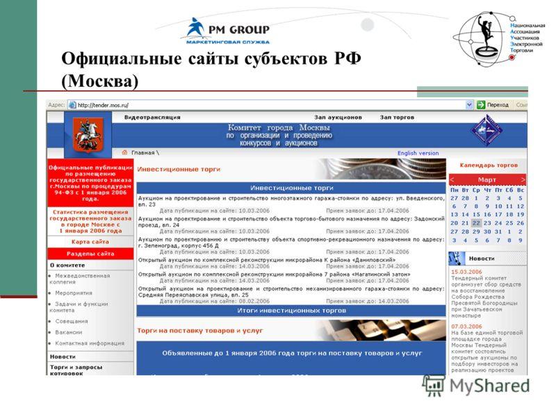 Официальные сайты субъектов РФ (Москва)