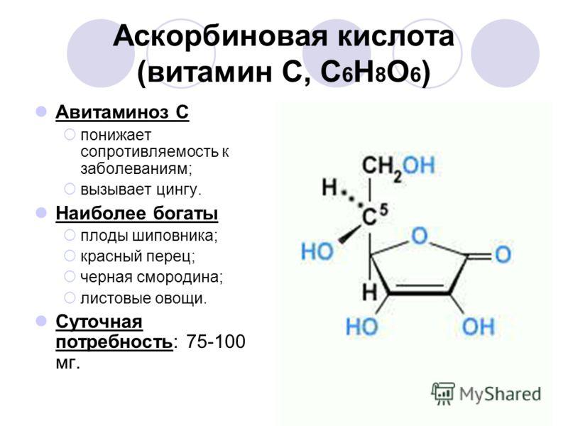 Аскорбиновая кислота (витамин С, С 6 Н 8 О 6 ) Авитаминоз С понижает сопротивляемость к заболеваниям; вызывает цингу. Наиболее богаты плоды шиповника; красный перец; черная смородина; листовые овощи. Суточная потребность: 75-100 мг.
