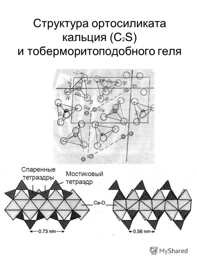 Структура ортосиликата кальция (C 2 S) и тоберморитоподобного геля Спаренные тетраэдры Мостиковый тетраэдр