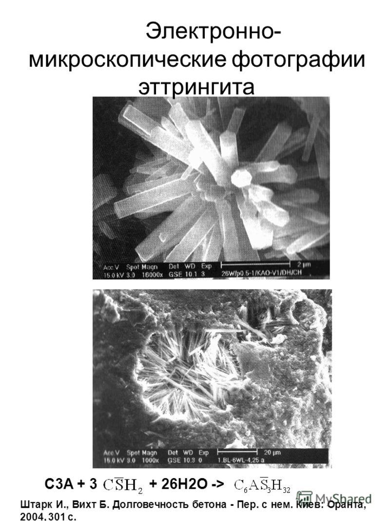 Электронно- микроскопические фотографии эттрингита C3A + 3 + 26H2O -> Штарк И., Вихт Б. Долговечность бетона - Пер. с нем. Киев: Оранта, 2004, 301 с.