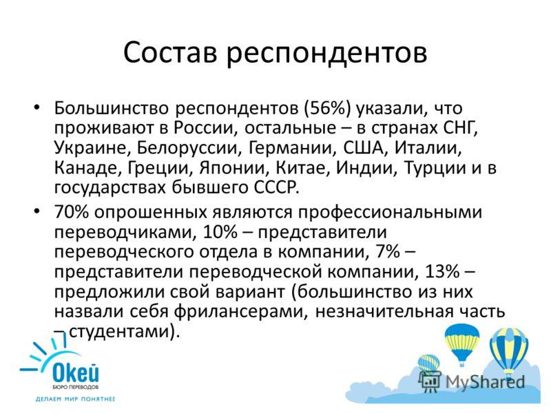 Состав респондентов Большинство респондентов (56%) указали, что проживают в России, остальные – в странах СНГ, Украине, Белоруссии, Германии, США, Италии, Канаде, Греции, Японии, Китае, Индии, Турции и в государствах бывшего СССР. 70% опрошенных явля