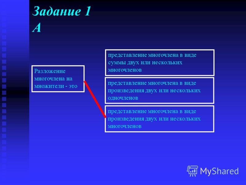 Разложение многочлена на множители с помощью комбинации различных приемов. Уважение к минувшему – вот черта, отличающая образованность от дикости. А.С. Пушкин Выполнение теста 1