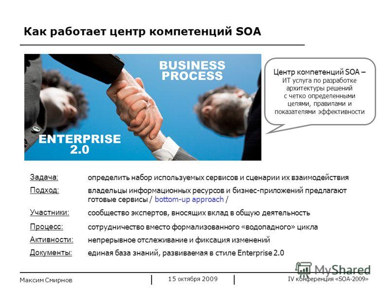 IV конференция «SOA-2009» Как работает центр компетенций SOA 15 октября 2009 Максим Смирнов Центр компетенций SOA – ИТ услуга по разработке архитектуры решений с четко определенными целями, правилами и показателями эффективности Задача: определить на