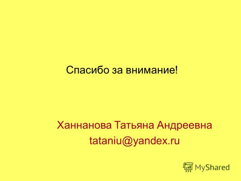 Спасибо за внимание! Ханнанова Татьяна Андреевна tataniu@yandex.ru