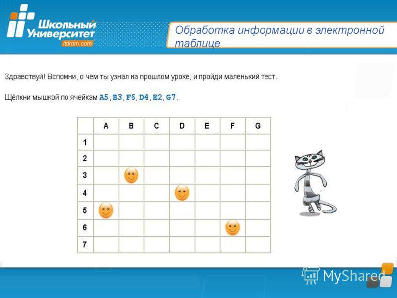 Обработка информации в электронной таблице