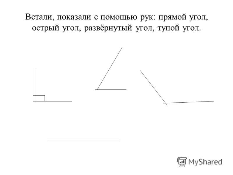 Встали, показали с помощью рук: прямой угол, острый угол, развёрнутый угол, тупой угол.
