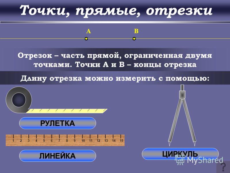 123456789101112131415 Прямая – множество точек, построенных с помощью линейки O a b Через любые две точки можно провести прямую, и притом только одну c d Две прямые либо имеют только одну общую точку, либо не имеют общих точек