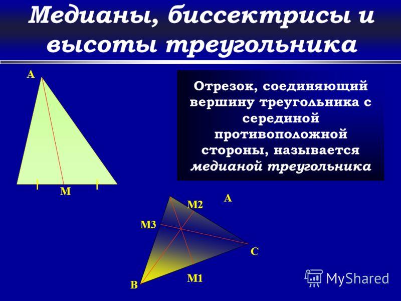 Медианы, биссектрисы и высоты треугольника a A Из точки, не лежащей на прямой, можно провести перпендикуляр к этой прямой, и притом только один aH A Для проведения на чертеже перпендикуляра из точки к прямой используют чертежный угольник