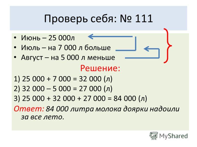 Проверь себя: 111 Июнь – 25 000л Июль – на 7 000 л больше Август – на 5 000 л меньше Решение: 1) 25 000 + 7 000 = 32 000 (л) 2) 32 000 – 5 000 = 27 000 (л) 3) 25 000 + 32 000 + 27 000 = 84 000 (л) Ответ: 84 000 литра молока доярки надоили за все лето