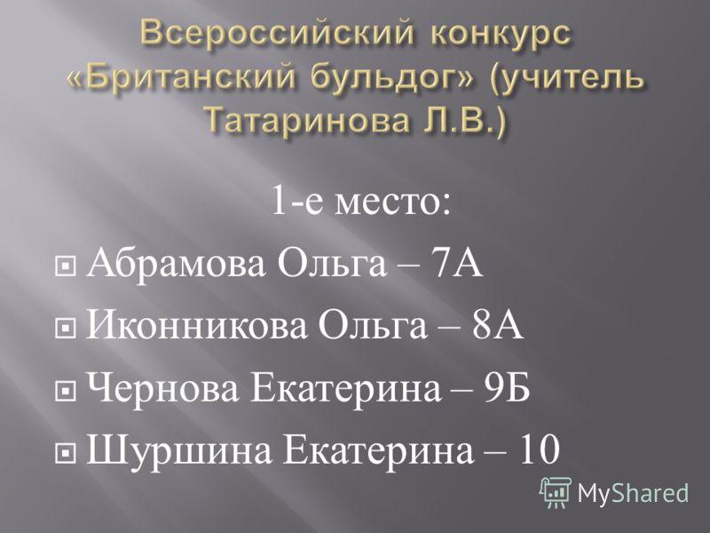 1- е место : Абрамова Ольга – 7 А Иконникова Ольга – 8 А Чернова Екатерина – 9 Б Шуршина Екатерина – 10