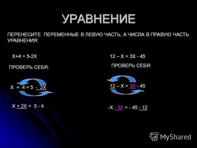 УРАВНЕНИЕ ПЕРЕНЕСИТЕ ПЕРЕМЕННЫЕ В ЛЕВУЮ ЧАСТЬ, А ЧИСЛА В ПРАВУЮ ЧАСТЬ УРАВНЕНИЯ: Х+4 = 5-2Х ПРОВЕРЬ СЕБЯ: Х + 2Х = 5 - 4 12 – Х = 3Х - 45 ПРОВЕРЬ СЕБЯ: -Х - 3Х = - 45 - 12
