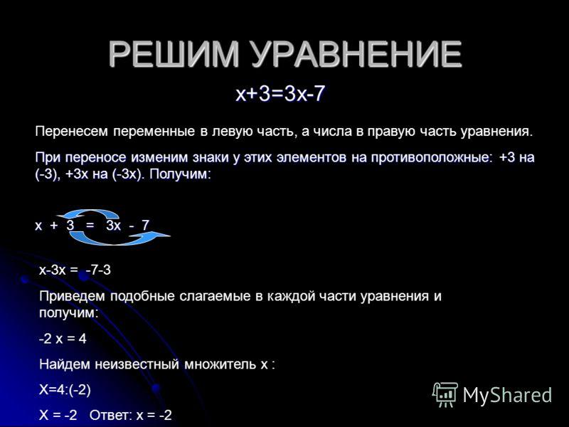 РЕШИМ УРАВНЕНИЕ х+3=3х-7 Перенесем переменные в левую часть, а числа в правую часть уравнения. При переносе изменим знаки у этих элементов на противоположные: +3 на (-3), +3х на (-3х). Получим: х + 3 = 3х - 7 х-3х = -7-3 Приведем подобные слагаемые в