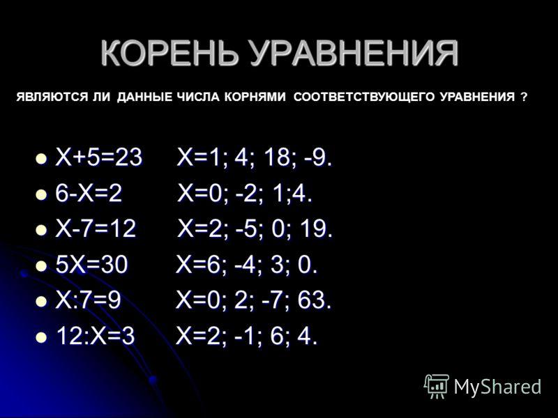 КОРЕНЬ УРАВНЕНИЯ Х+5=23 Х=1; 4; 18; -9. Х+5=23 Х=1; 4; 18; -9. 6-Х=2 Х=0; -2; 1;4. 6-Х=2 Х=0; -2; 1;4. Х-7=12 Х=2; -5; 0; 19. Х-7=12 Х=2; -5; 0; 19. 5Х=30 Х=6; -4; 3; 0. 5Х=30 Х=6; -4; 3; 0. Х:7=9 Х=0; 2; -7; 63. Х:7=9 Х=0; 2; -7; 63. 12:Х=3 Х=2; -1;