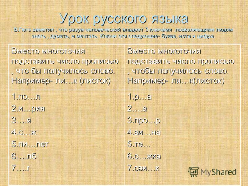 Урок русского языка В.Гюго заметил, что разум человеческий владеет 3 ключами,позволяющими людям знать, думать, и мечтать. Ключи эти следующие- буква, нота и цифра. Вместо многоточия подставить число прописью, что бы получилось слово. Например- ли…к (