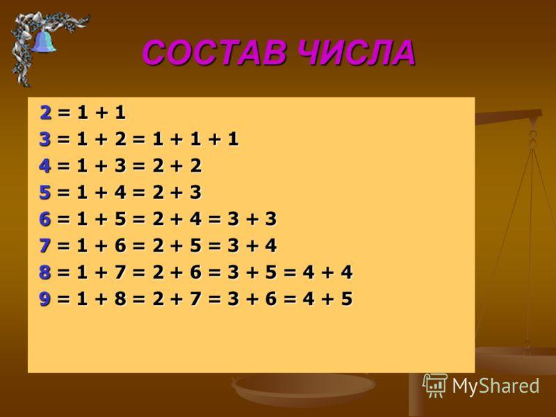 ВЫЧИТАНИЕ 5 - 3 = 2 5 - 3 = 2 уменьшаемое вычитаемое разность уменьшаемое вычитаемое разность a – b = c Вычесть 1 из какого-либо числа – значит назвать предыдущее число 1 2 3 4 5 6 7 8 9... 1 2 3 4 5 6 7 8 9... 7 – 1 = 6 7 – 1 = 6