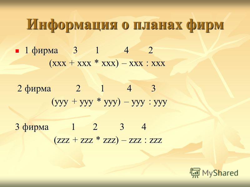 Информация о планах фирм 1 фирма 3 1 4 2 1 фирма 3 1 4 2 (xxx + xxx * xxx) – xxx : xxx (xxx + xxx * xxx) – xxx : xxx 2 фирма 2 1 4 3 2 фирма 2 1 4 3 (yyy + yyy * yyy) – yyy : yyy (yyy + yyy * yyy) – yyy : yyy 3 фирма 1 2 3 4 (zzz + zzz * zzz) – zzz :