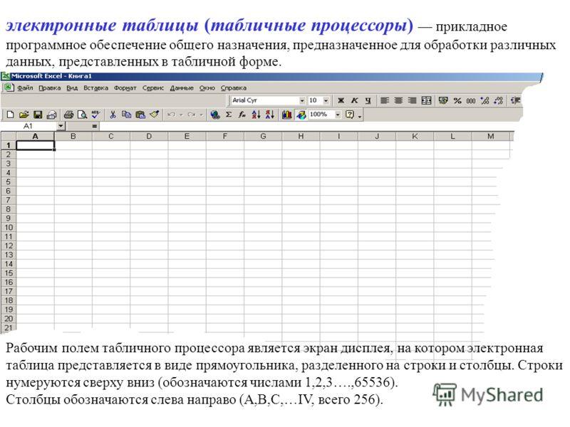 электронные таблицы (табличные процессоры) прикладное программное обеспечение общего назначения, предназначенное для обработки различных данных, представленных в табличной форме. Рабочим полем табличного процессора является экран дисплея, на котором
