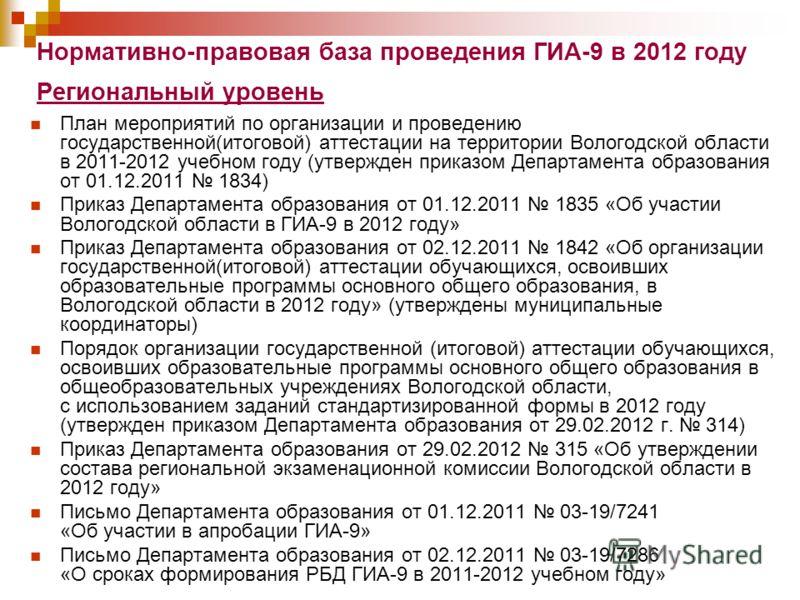 Нормативно-правовая база проведения ГИА-9 в 2012 году Региональный уровень План мероприятий по организации и проведению государственной(итоговой) аттестации на территории Вологодской области в 2011-2012 учебном году (утвержден приказом Департамента о