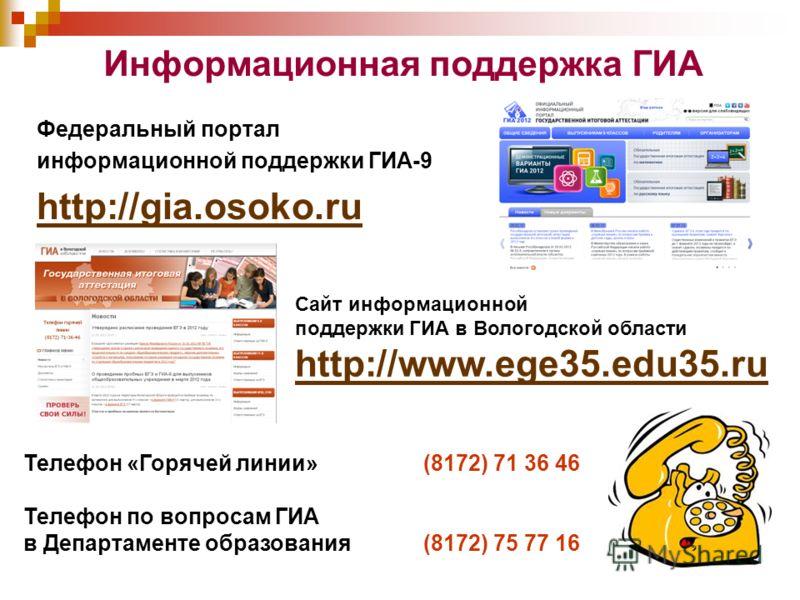 Информационная поддержка ГИА Федеральный портал информационной поддержки ГИА-9 http://gia.osoko.ru Телефон «Горячей линии»(8172) 71 36 46 Телефон по вопросам ГИА в Департаменте образования(8172) 75 77 16 Сайт информационной поддержки ГИА в Вологодско