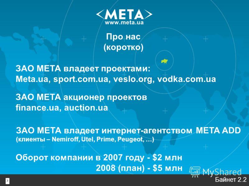 3 Про нас (коротко) Байнет 2.2 ЗАО МЕТА владеет проектами: Meta.ua, sport.com.ua, veslo.org, vodka.com.ua ЗАО МЕТА акционер проектов finance.ua, auction.ua ЗАО МЕТА владеет интернет-агентством META ADD (клиенты – Nemiroff, Utel, Prime, Peugeot, …) Об